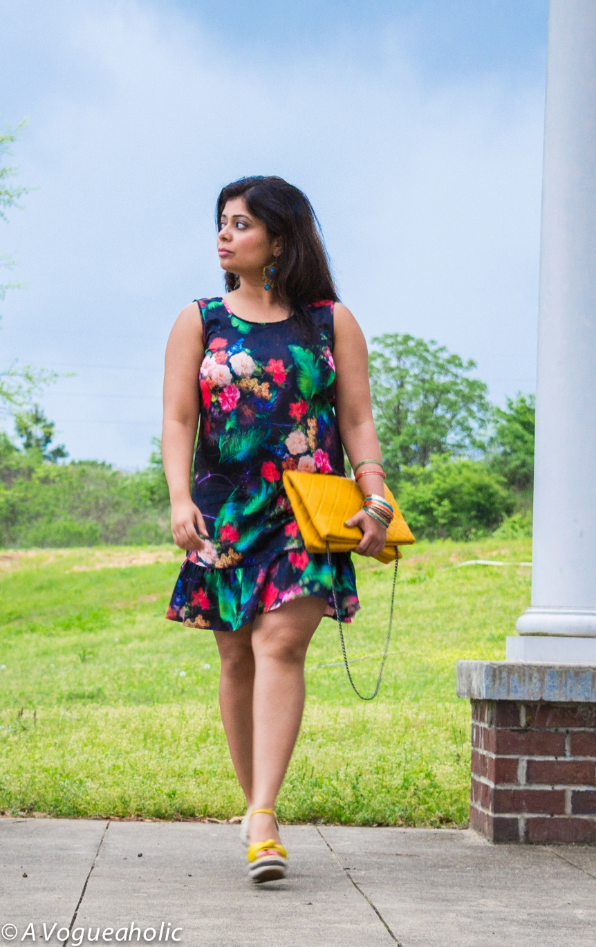 Darker Side of Pretty :: Floral Dress & Yellow Wedges