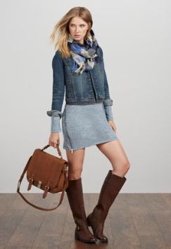 Love that dress with ribbed detail & the boots too!